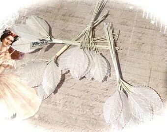 3 Iridescent Floral Leaf Sets White Leaves Floral Supplies RB-243