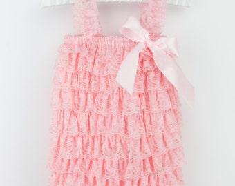 Light Pink Lace Petti Romper, Lace baby romper, Baby girl romper