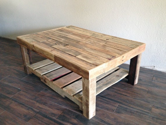 Reclaimed recycled wood coffee table rustic vintage by for Rustic beach coffee table