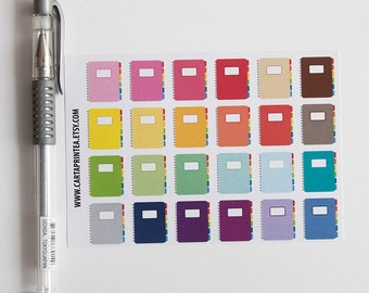 24 repositionable notebook stickers, student stickers, planner stickers, school stickers, homework read eclp filofax happy planner kikkik