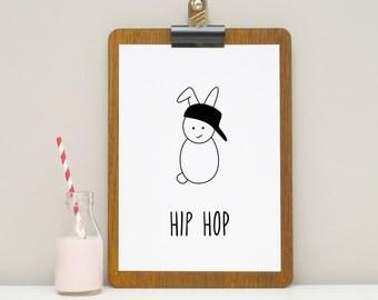 Hip Hop Bunny Print - Rabbit Print - A4 Print - Kids Room Print