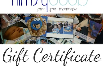 Gift Certificate - Nimsy Books custom photo book design and compilation.