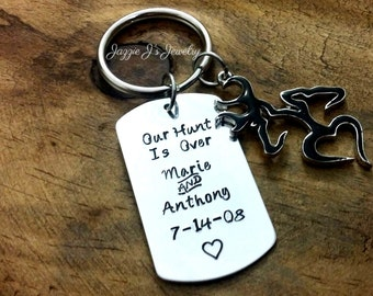 Our Hunt Is Over Anniversary Keychain, Buck and Doe Heart Keychain, His Doe Her Buck, Personalized Couples Gift, Husband, Wife, His or Hers