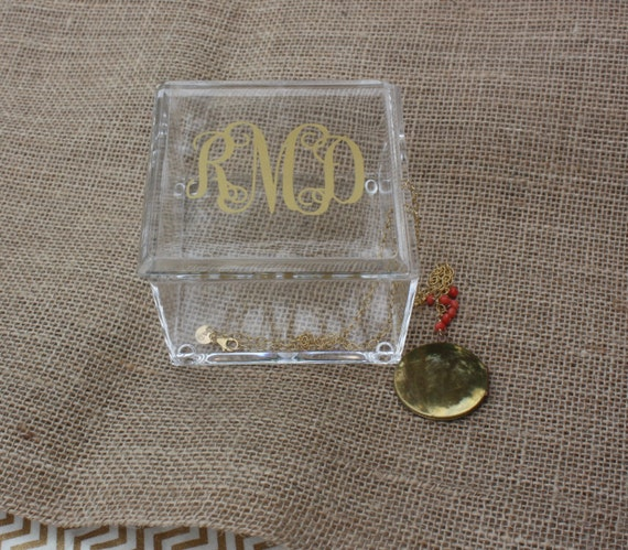 Acrylic Trinket Boxes : Monogrammed acrylic jewelry trinket box by