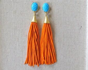 Turquoise Orange Beaded Tassel Earrings