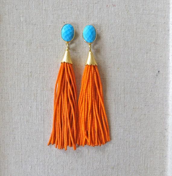 turquoise orange beaded tassel earrings by straine on etsy