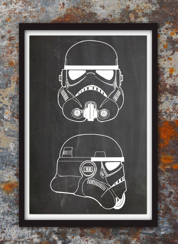 Stormtrooper Helmet Wall Art Print Star Wars Art