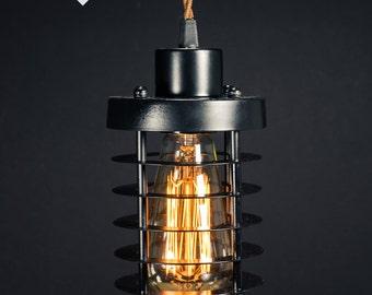Black Cage pendant light Industrial Aluminium ceiling light, Antique Edison Bulb, Lamp, Rustic Lighting