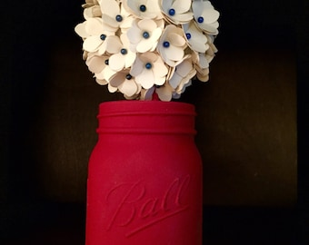 Rustic Hydrangea Bouquet in a hand painted mason jar!