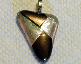 Gold and Silver Dichroic Fused Glass Pendant (#18)