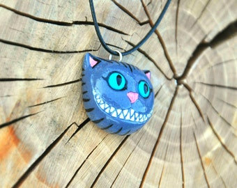 Cheshire cat necklace, Polymer clay Jewelry, Cheshire cat jewelry, Whimsical cat pendant, Alice in Wonderland jewelry FREE SHIPPING