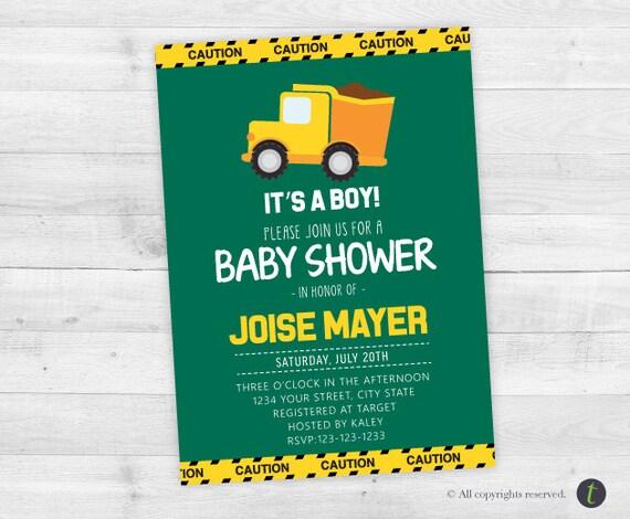 construction baby shower invitation boy