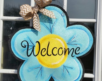 Flower Burlap Door Hanger Decoration and Wreath Replacement