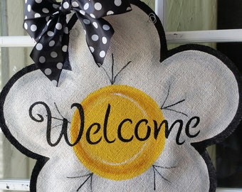 Flower Burlap Door Hanger Decoration and Welcome Wreath