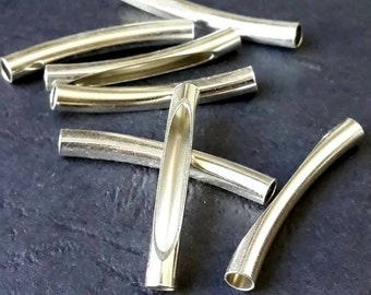 16 pcs 4x32 mm Curved Brass Tube Silver Color