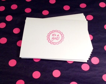 New Baby - Baby Shower - Girl Folded Note Cards and Envelopes - Set of 8 - Pink and White