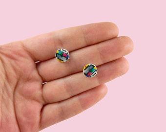 TV Test Pattern stud earrings