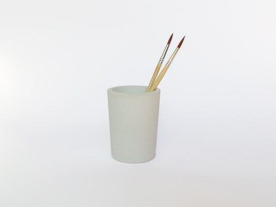 White Concrete Pencil Holder Pencil Cup By IndustrialRepublic