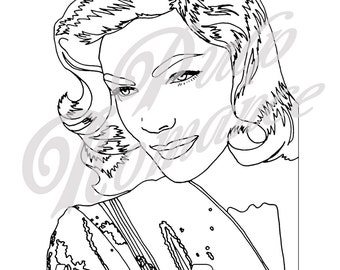50% OFF ***SALE*** Create Your own Technicolour! Lauren Bacall colouring page