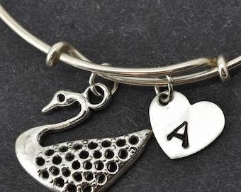 Swan Bangle, Sterling Silver Bangle, Swan Bracelet, Bridesmaid gift, Personalized Bracelet, Charm Bangle, Monogram, Initial Bracelet