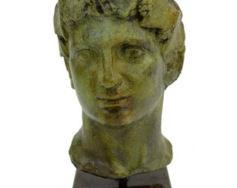 Dionysus bronze statue bust God of winemaking, wine, ritual and ecstacy