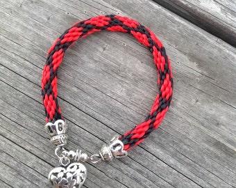 Bracelet Friendship Red Black Kumihimo Friendship Bracelet with Heart Charm