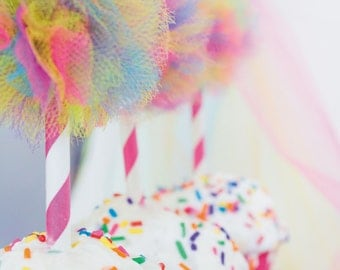 Art party, Art party favors, art party decorations, rainbow party, rainbow baby, rainbow baby shower, cupcake toppers, cupcake, pom pom