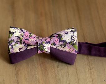 Bow 44. Flores en lila/ Lilac flowers/ Fleurs de lilas. Handmade bowtie made with high quality printed fabric.