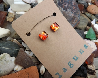 Red and gold Venetian glass square earring studs