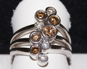 14k white gold and multi color diamond ring