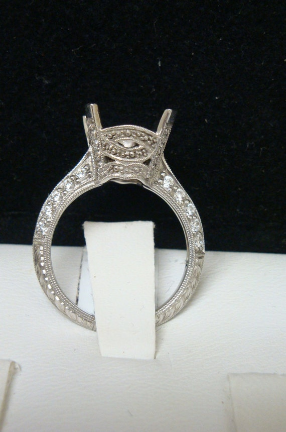 Antique inspired Edwardian Style white gold and pave set