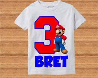 Super Mario Brothers Birthday Shirt - Raglan Shirt Available