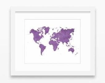 World map printable, purple print, purple decor, purple map print, world map print, violet prints, violet print, purple wall art, 10x8 print