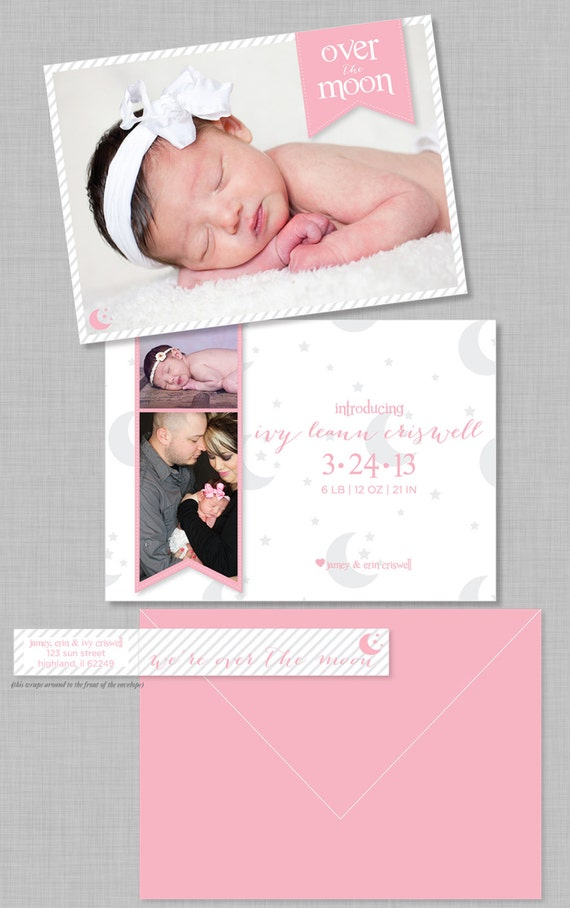 Over the Moon Birth Announcement and Address Labels