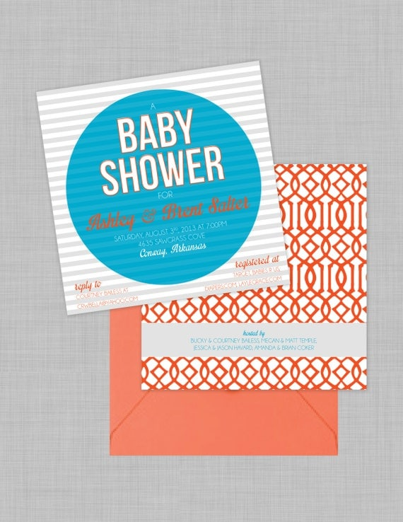 Fun Patterns Baby Shower Invitations