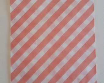 """10 Medium Size Pink and White Diagonal striped Candy bags, 5 1/8"""" x 6 3/8"""""""