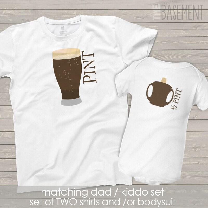Matching Dad Baby Kiddo Shirt Set Pint Half