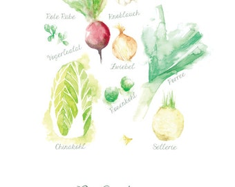 Art print fruits and vegetables WINTER, kitchen print, print seasonal cooking