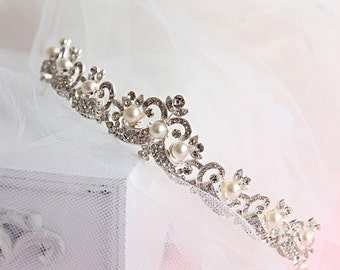 Wedding crown - bride hair jewelry,crystal with pearls bride tiara, wedding hair accessories,bridal headband