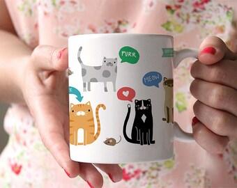 Coffee Mug Cute Kitty Cats Coffee Mug - Funny Mug - Cat Mug