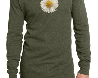 Men's Flower Shirt White Daisy Long Sleeve Thermal Tee T-Shirt DAISY-DT118