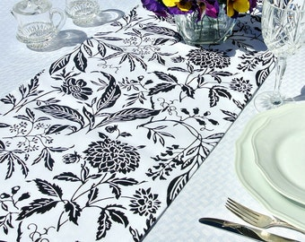 """BLACK & WHITE FLORAL Table Runner ~ 108"""", Spring, Mother's Day, Summer, Tabletop, Table Linens, Wedding"""