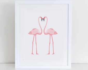 Flamingo Art Print, Flamingo Printable, Instant Download,  Printable Home Decor, Digital Art Print, Pink Flamingo Wall Decor