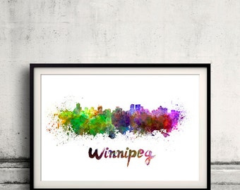 Winnipeg skyline in watercolor over white background with name of city 8x10 in. to 12x16 in. Poster art Illustration Print  - SKU 0552