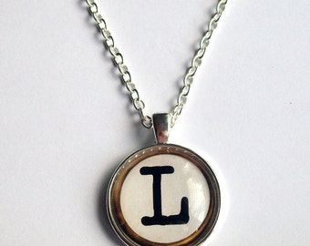 Personalised Necklace ~ Typewriter Key Initial Necklace ~ Pick Your Letter ~ Custom Typewriter Key Pendant