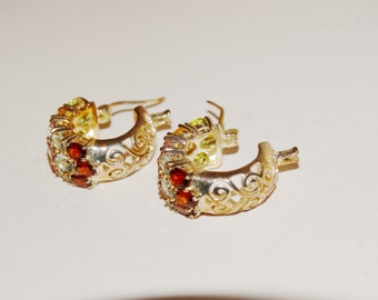 Sterling Silver Small Gemstone Hoop Earrings