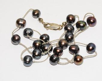 """Sterling Black Pearl 16"""" vintage Necklace."""