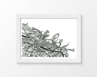 """Cosmic Fox / Drawing pencil black printable art wall art home decor downloadable art to print at home or at a print shop / A4 and 8.5"""" x 11"""""""