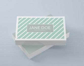 Mint business card template, modern business card design stripes instant download business card printable mint card stripped business card