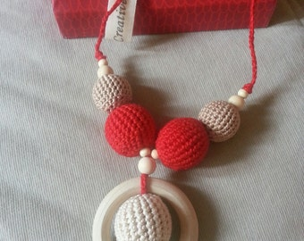 "Nursing necklace babywearing ""Rouge"""